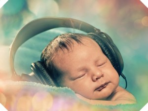 Baby with headphones