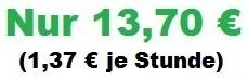 Preis 13,70€ und Stunde